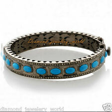Vintage Estate 3.65cts Rose Cut Diamond Jewelry Turquoise Sterling Silver Bangle