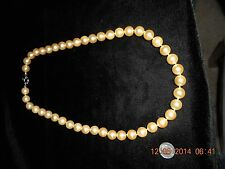"SHELL PEARL 12MM NECKLACE STRAND HAND KNOTTED CHAMPAIGN COLOR 24"" LENGTH"