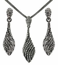 New 14K Black  Spiral Swarovski Element Crystal Jewellery Set -  Evening Wear UK
