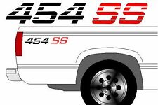 454 SS Chevy Truck 4x4 Off Road Silverado 1500 Sticker Vinyl Decal  2 set BLACK