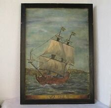 Large  OLD antique VASA ship OIL painting seascape sails boat signed, framed ART