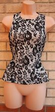 TOPSHOP WHITE BLACK FLORAL LACE PRINT PEPLUM BLOUSE  TOP T SHIRT TUNIC VEST 8 S