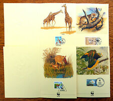 World Wide Fund for Nature 1989 Animal Greeting 1st Day Cards SEE BELOW FP7727