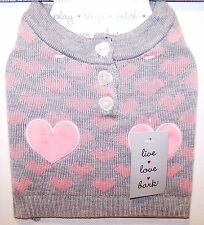 New LIVE LOVE BARK Puppy DOG Sweater Gray Coat & PINK HEARTS XS Yorkie Chihuahua