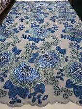 """Blue & Teal Mesh w/ Embroidery Beaded Lace & Sequins Fabric 50""""-Sold by the Yard"""