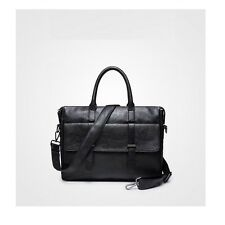 Retro Men's Leather Briefcase Business Cases Laptop Messenger Shoulder Bag Black
