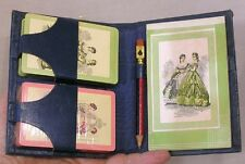 Vintage Bridge Playing Card Set in Beautiful Case w Pad and Pencil w Pip Cutouts