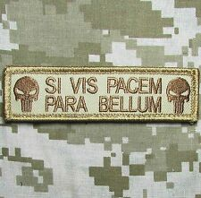 SI VIS PACEM PARA BELLUM PUNISHER TACTICAL USA ARMY MORALE DESERT HOOK PATCH