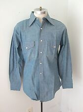 NOS NEVER WORN Vtg 60s JC Penney Blue Chambray Western Work Shirt Pearl Snaps M