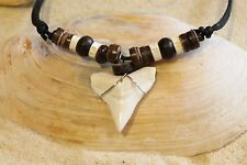NEW LARGE SHARK TOOTH NECKLACE LUCKY SURFER TALISMAN BEACH TEETH SURF / n190E