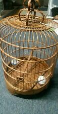 Vintage Large Chinese Wood Bamboo Bird Hanging Cage Ornate Carved 24'' Tall
