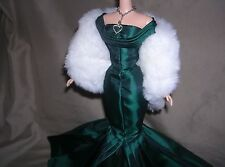 SILKSTONE BARBIE EMERALD GREEN GLAMOUR GOWN, SHOES, STOLE & JEWELRY FAST SHPG