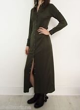 STUNNING WOMENS VINTAGE MILITARY MINIMALIST GRUNGE POPPER BUTTON MAXI DRESS 8 S