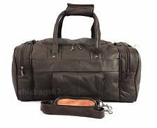 LADIES MENS LEATHER HOLDALL GYM TRAVEL DUFFLE SPORTS CABIN COWHIDE LEATHER BAG