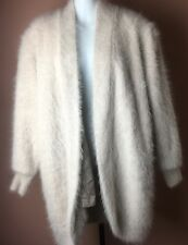 VENESHA Sz M Fuzzy Taupe Hairy Furry 80% Angora Sweater Coat Jacket Pristine