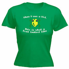 WHEN I WAS A KID THIS IS WHAT A FROG LOOKED LIKE WOMENS T SHIRT JNR retro gamer