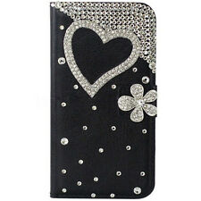 Bling Crystal Diamond Gems PU leather flip slots stand wallet black case cover M