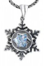 Nice 925 Sterling Silver Ancient Roman Glass Pendant Snow Flake Gift