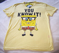 SpongeBob Mens Know It Yellow Printed Short Sleeve T Shirt Size M New
