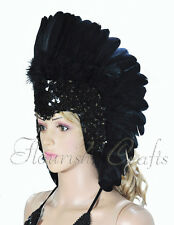 Black feather sequins las vegas dancer showgirl headpiece headdress