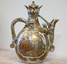 Japanese Earthenware Painted Satsuma Lidded Teapot late 19th early 20th century