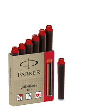 PARKER QUINK MINI RED  MINI  INK CARTRIDGES NEW IN BOX  6 CARTRIDGES