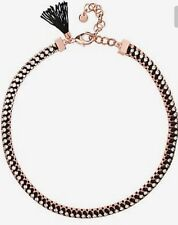 �� Mimco Brand New Victorious Rose Gold Black Choker Necklace + Dust Bag