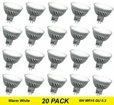 20 x Quality Wide Beam LED Downlight Globes / Bulbs 6W 12V MR16 GU5.3 Warm White