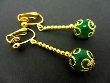 A PAIR OF DANGLY GREEN JADE  BEAD GOLD PLATED DROP CLIP ON EARRINGS.