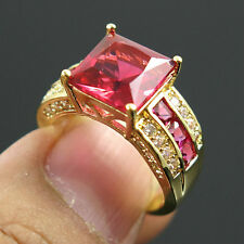 Size 7 rose Red CZ Engagement Ring 10KT Yellow Gold Filled Wedding Band