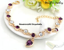 NEW Made with Swarovski Heart Amethyst Purple Crystal 18K Gold Plated Bracelet