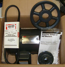 Dayton 1HP .75kW Electic Motor 3KW91G w V-Belt 1A095K and Browning Pulleys NEW
