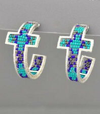 "1.5"" AZTEC BEADED WESTERN HOOP EARRINGS TURQUOISE BLUE PURPLE FREE SHIPPING"