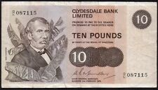 1976 CLYDESDALE BANK LIMITED £10 BANKNOTE * D/L 087115 * aVF *
