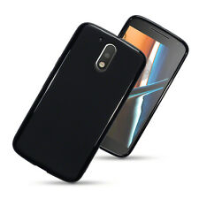 Rubber Jelly Cover Case for Motorola Moto G4 / G4 Plus - Matte Black
