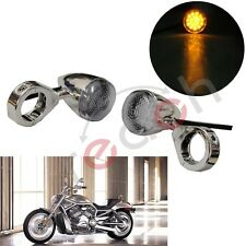 2X Led Turn Signal Light Indicator Front Motorcycle Amber Lamp For Harley Chrome