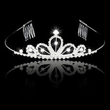 Wedding Party Flower Girl Bridal Crystal Rhinestone Crown Tiara with Hair Comb