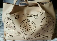 NEW LOOK NUDE PINK GOLD FLORAL SLOUCHY LASER CUT TOTE BAG HANDBAG BEACH BAG