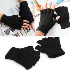 Unisex Men Women Black Stretch Knitted Gloves Fingerless Winter Warmer Mittens