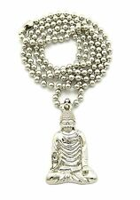 "Men 14K Gold Plated Gautama Buddha Micro Pendant  3mm 27"" Ball Chain Necklace 67"