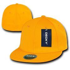 Yellow Gold Blank Solid Flex Retro Flat Bill Fit Fitted Golf Baseball Cap Hat