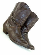 WOMENS VINTAGE CHOCOLATE BROWN LEATHER RIDING HACK HUNT BOOTS SHOES UK 5 EU 38