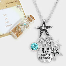 Starfish Necklace SunSea Serenity Sand Bottle SILVER Quote Message Charm Jewelry