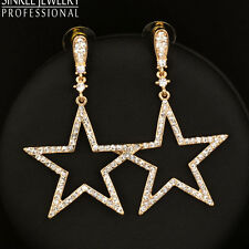 2016 New Zircon Hollow Big Star Earrings For Women 18K Yellow Gold Plated ES541