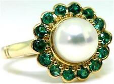 Natural Emerald & Pearl 9K  9ct 375 Solid Gold Antique Reproduction Ring