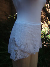 All Stretch Short Wrap Dance Skirt Large White Lace Pattern
