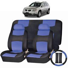 PU LEATHER BLUE & BLACK SEAT COVERS 11PC SET for PONTIAC TORRENT AZTEC