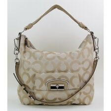 NWT Coach 14912 Tan Op Art Sateen Canvas Kristin Hobo Handbag