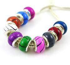 100PCS mix Wood Grain Acrylic Bead silver core Fit European Bracelet YM16