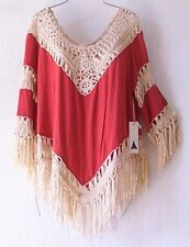 NEW~Rust Orange & Ivory Crochet Fringe Blouse Tunic Shirt Boho Top~8/10/M/Medium